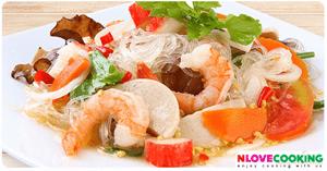 ยำวุ้นเส้น อาหารไทย เมนูยำ อาหารทะเล