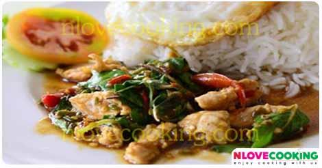 กระเพราไก่ ผัดกระเพราไก่ ไก่ผัดกระเพรา อาหารไทย