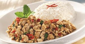 ผัดกระเพราไก่ อาหารไทย อาหารจานเดียว เมนูไก่