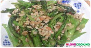 ผักกวางตุ้งหมูสับ อาหารไทย เมนูหมู เมนูผัด
