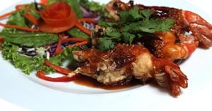 กุ้งทอดราดพริก อาหารไทย เมนูกุ้ง