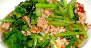 ผัดผักกวางตุ้ง อาหารผัด เมนูหมู