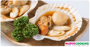 หอยเชลล์ย่างมิโซะ อาหารญี่ปุ่น เมนูหอย เมนูปิ้งย่าง
