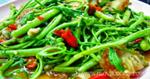 ผัดผักกระเฉดหมูกรอบ อาหารไทย เมนูหมู เมนูผัด