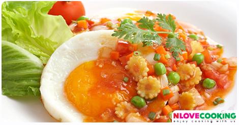 ไข่ราดซอส สูตรอาหาร เมนูไข่