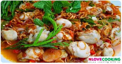 ยำหอยรางรม อาหารไทย เมนูยำ เมนูหอยนางรม