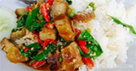 ผัดกระเพราหมูกรอบ อาหารไทย อาหารจานเดียว เมนูหมู