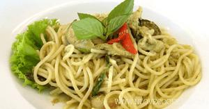 สปาเก็ตตี้แกงเขียวหวาน อาหารไทย เมนูแกงกะทิ เมนูเส้น