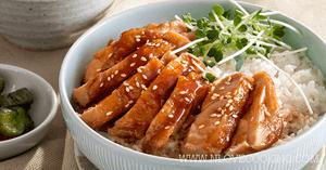 ข้าวไก่เทริยากิ ข้าวหน้าไก่ อาหารจานเดียว เมนูไก่