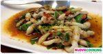 หอยหลอดผัดใบโหระพา อาหารไทย เมนูผัด เมนูหอย