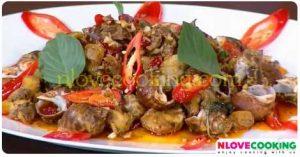 หอยหวานผัดพริกแห้ง อาหารไทย เมนูผัด เมนูหอย