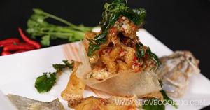 ปลากระพงผัดต้มยำแห้ง เมนูปลา อาหารไทย