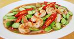 ผัดสะตอกุ้ง กุ้งสะตอผัดพริกแกงใต้ เมนูกุ้ง อาหารไทย