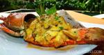 กุ้งมังกรราดซอสข่า อาหารไทย เมนูกุ้ง