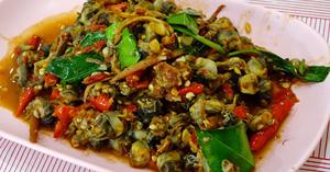 หอยขมผัดฉ่า อาหารไทย เมนูหอย