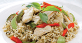 อาหารจานเดียว อาหารไทย ข้าวผัดแกงเขียวหวานไก่ แกงเขียวหวาน
