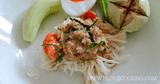 อาหารไทย เมนูน้ำยา ขนมจีนน้ำพริกกุ้งสด เมนูขนมจีน