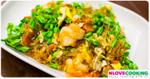 ดอกขจรผัดไข่กุ้งสด อาหารไทย เมนูผัด เมนูไข่