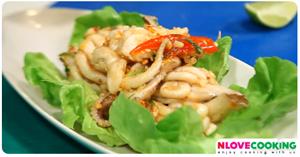 ปลาหมึกทอดราดพริก อาหารไทย เมนูปลาหมึก เมนูทอด