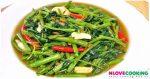 ผัดผักบุ้งไฟแดง วิธีทำผัดผักบุ้งไฟแดง อาหารไทย เมนูผัด