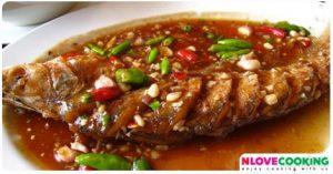 ปลาราดพริก ปลาเนื้ออ่อนราดพริก เมนูปลาราดพริก เมนูปลา