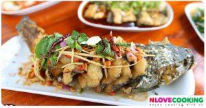 ปลาช่อนลุยสวน วิธีทำปลาช่อนลุยสวน อาหารไทย เมนูปลา