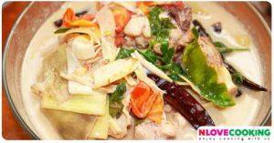 ต้มข่าหัวปลี เมนูแกงกะทิ เมนูแกงไก่ อาหารไทย