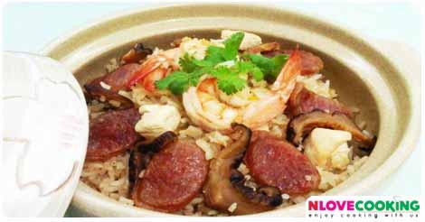 ข้าวอบกุนเชียง อาหารไทย สูตรอาหาร เมนูอาหาร