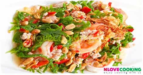 ยำผักกูด อาหารไทย เมนูยำ เมนูกุ้ง