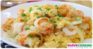 กุ้งผัดไข่ อาหารไทย เมนูไข่ ไข่ผัดกุ้ง