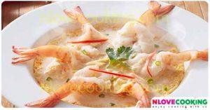ไข่ตุ๋นนมสด กุ้งนึ่งนมสด อาหารไทย เมนูไข่