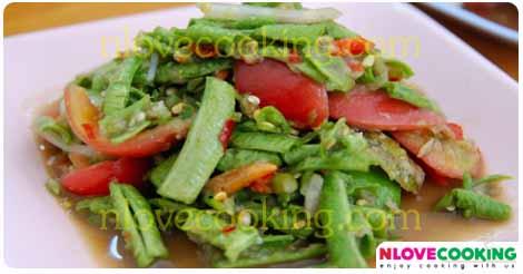 ตำถั่ว ส้มตำถั่วฝักยาว อาหารไทย อาหารอีสาน