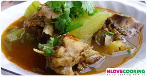 แกงไก่ใส่ฟักหม่น แกงไก่ อาหารไทย เมนูไก่