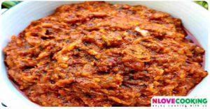 น้ำพริกปลาร้าสับ อาหารไทย น้ำพริก อาหารอีสาน