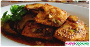 ปลาแซลมอนผัดพะโล้ อาหารไทย เมนูปลา เมนูผัด